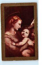 Art Nouveau Gold Trim Mother and Child Mary Jesus Religious Vintage Postcard C65