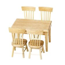 Lowpricenice 5pcs Wooden Dining Table Chair Model Set 1:12 Dollhouse Miniature