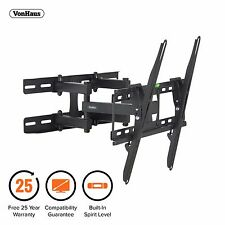 "VonHaus 23-56"" Double Arm Tilt & Swivel TV Wall Mount Bracket with Spirit Level"