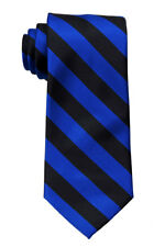 Extra Long Royal and Black Collegiate Striped Men's Tie Necktie Schools Ties