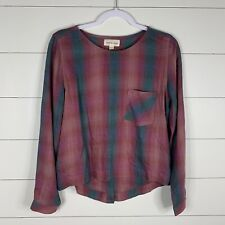 Cloth & Stone Anthropologie Womens Multi Color Plaid Size Small Long Sleeve Top