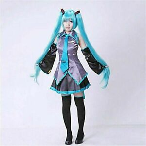 Hatsune Miku Vocaloid Anime Dress + Tie Halloween Cosplay Party Cos Full Set new