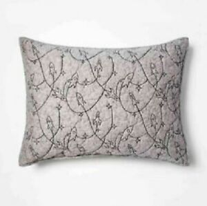 NEW Pillowfort Rocket Space Stitched Standard Quilted Pillow Sham Heathered Gray