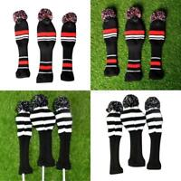 UK Wool Knit Fairway Wood Head Covers Golf Club Headcover Replacements 3pcs/set