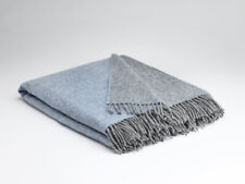 Large Mcnutt Starlight Blue Reversible Blanket Throw - Made in Ireland 100% Wool