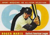 1960 ROGER MARIS TOPPS # 565 YANKEES RP BROKE HR RECORD IN 1961