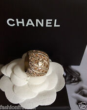 CHANEL CLASSIC GOLD CC EMBELLISHED CRYSTAL WIDE BAND RING 54