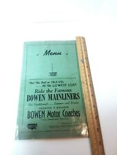Vintage Bowen Motor Coaches, Menu, Bus Menu, Texas,