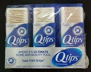 3 pack Q-tips Original Cotton Swabs 2x 625 count 1x 500 count TOTAL 1750 Sealed