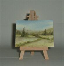 ACEO SFA original art  painting watercolour landscape Green fields by Gweddus