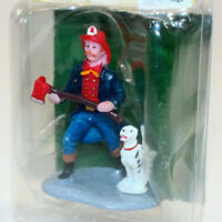 Fireman With Dog Lemax 97528 Christmas Valley Winterdorf Village Train Accessory