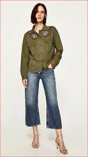 Nuevo Zara Básico Colección Mujer Camisa Militar Verde M Msrp