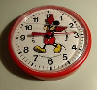 Vintage Bradley 6 Inch Wind Up Plastic Mickey Mouse Clock Not Working 4 Parts