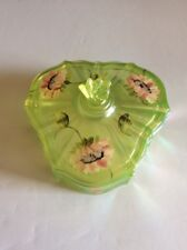 FENTON TOPAZ VASELINE OPALESCENT COVERED CANDY DISH Hand Painted