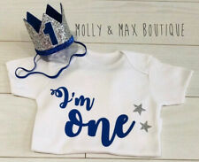 Luxury Boys First 1st Birthday Outfit Cake Smash Set Vest T-Shirt Top & Crown