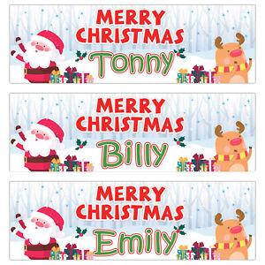 2 Personalised Merry Christmas Banner Santa Snow Deer Xmas children Party Poster