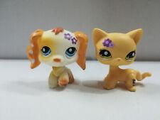 2pcs/Lot Littlest pet shop LPS Cocker Spaniel Dog Short Hair Cat Flower on Face