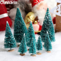 8x  Mini Sisal Christmas Trees Ornament Snow Frost Small Pine Tree XMAS Decor