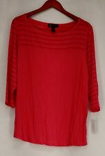 INC Plus Size Top 1X Polished Coral Pink Illusion Stripe Tunic NEW