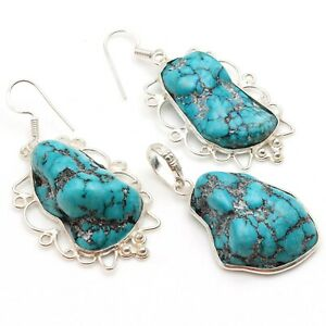 """TURQUOISE & 925 SILVER PLATED PENDANT EARRING SET 1.6/2"""", S-5946"""