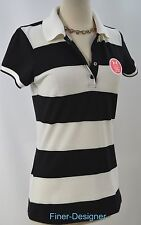 Under Armour Heat Gear B&W Striped Women's Polo Golf Shirt knit top size S NEW