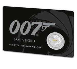 2021 Tuvalu Perth Mint James Bond 007 1 oz Silver Colorized BU Coin on Card