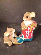 Charming Tails Mice In Red & Green Cowboy Boot Unk Name