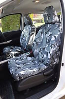 Tailored Grey Camo Front & Rear Seat Covers Fits Nissan Navara NP300 2016+