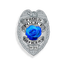 Proud Police Officer Wife Badge Sticker Blue Line Car Window Laptop Cup Decal
