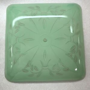 "Vintage Light Green Leaf Ceiling Light Shade Square Fixture 13.25"""