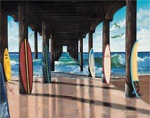 Surfboards Hermosa Beach Pier Scott Westmoreland Art Metal Sign Surfing Sports