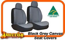 Front Black Grey Canvas Seat Covers for Landcruiser 70 Series Dual Cab 13on