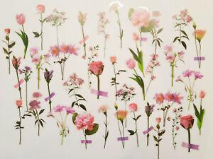 Rosa Blumenset 40 Stück transparent durchsichtig Aufkleber Sticker basteln Blume
