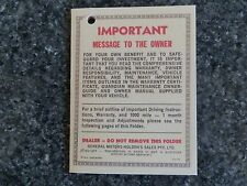 HOLDEN HQ WARRANTY SWING TAG  (MANUAL)