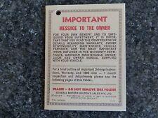 HOLDEN HQ WARRANTY SWING TAG     ''NOT A BROCHURE''