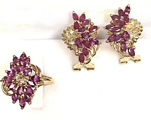 14K Yellow Gold Marquise Ruby and Diamond Earrings & Ring Matching Set