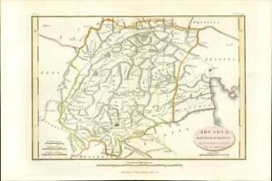 "1817 Original Antique MAP ""ARCADIA"" Ancient GREECE Anacharsis (12)"