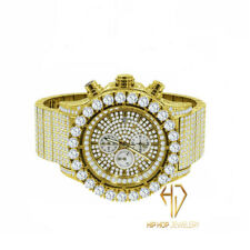 Men's Solid Stainless Steel Yellow Gold Tone Simulated Diamond Custom Watch 48mm