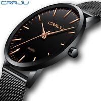 Business Men Ultra-thin Analog Watch Stainless Steel Mesh Band Quartz Wristwatch