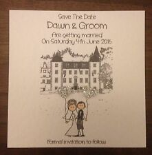 10 x Handmade Bride and Groom Square Save The Date Magnets with your venue on it