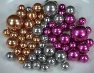 CHRISTMAS Set 250 Elegant Vase Fillers Assorted Pearls Beads 3 colors BULK BUY!!