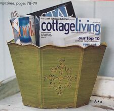 SOUTHERN LIVING At Home Tole-Painted Caddy Magazine Holder/Wall Basket Green