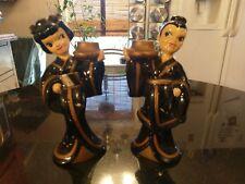 Pair Of Adorable Antique Asian Ceramic Candle Sticks