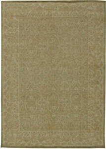 T a b r i z Design Light Brown and Beige Hand Knotted Wool Rug N11066