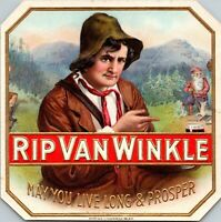 "Vintage Rip Van Winkle EMB Cigar Box Label Washington Irving Original 4 1/2"""