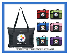 PITTSBURGH STEELERS WITH NAME TOTE PURSE TRAVEL SPORTS GYM SCHOOL BAG ZIPS