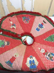 vintage quilted christmas tree skirt 32""