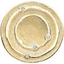 Anhänger rund 585 Gold Gelbgold matt 4 Diamanten Brillanten 0,04ct Goldanhänger