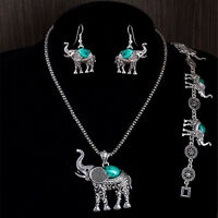 Antique Silver Plated Necklace Bracelet Earring Elephant Turquoise Jewelry Set!