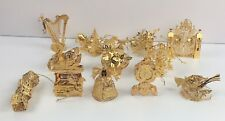 Danbury Mint 1999 23K Gold Christmas Ornament Collection Complete Box Set of 12